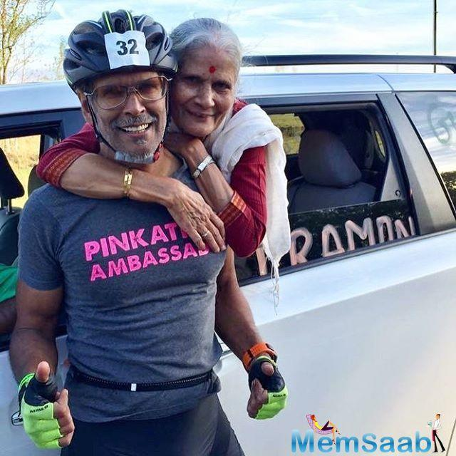 Milind posted pictures from his run through Florida. The 51-year-old also had his mother with him at the event.