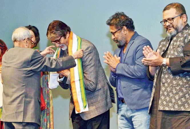 The president Pranab Mukherjee also felicitates Tapsee Pannu