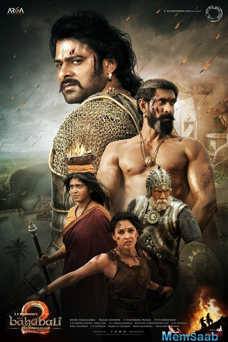"Rana Daggubati also shared the poster captioning it as ""And as the MIGHTY ROARS!! #baahubali2 #WKKB."""
