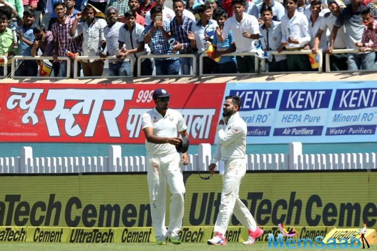 India had a moment to worry after Virat Kohli walked off the field following a tumble near the boundary rope.