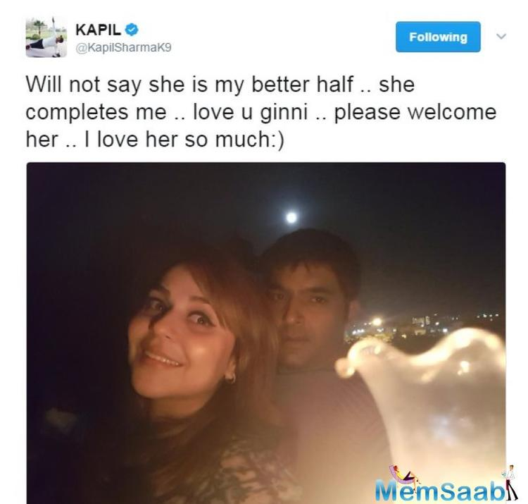 Finally, comedian Kapil Sharma has confessed to being in love with Ginni Chatrath.