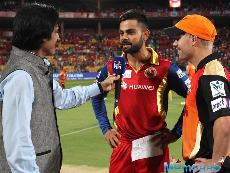 David Warner had a chat with Virat Kohli during the IPL inaugural ceremony in Hyderabad.