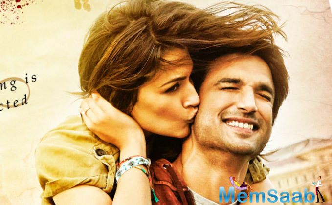 The 1st look showcases the adorable chemistry between the lead pair, where Kriti is seen kissing Sushant on his cheek as he carries her on his back