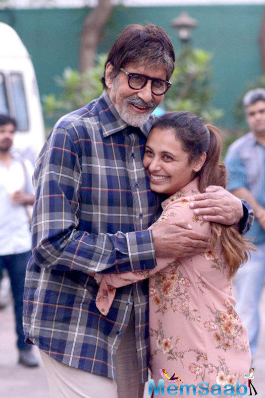 Recently, Rani was shooting for her upcoming film Hichki, and at the same studio Amitabh was shooting for an ad.
