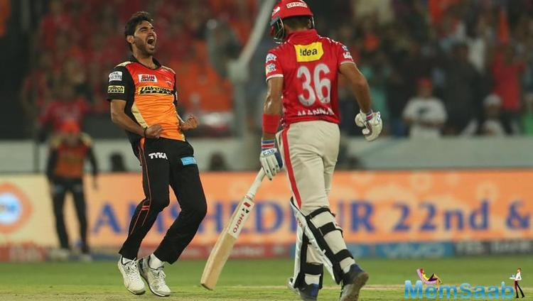 Sunrisers Hyderabad won by 5 runs against Kings XI Punjab at the Rajiv Gandhi International Stadium