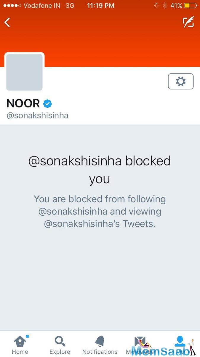 """Sona Mohapatra wrote, """"Dear Sonakshi,if you weren't 'performing' at the Bieber concert like you now proclaim, then u could have just said so & not talked about (1)"""