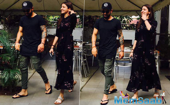 While Virat looked dapper in a white shirt and black trousers, the 'Phillauri' actress looked stunning in a black dress. They sure make for a stylish duo!