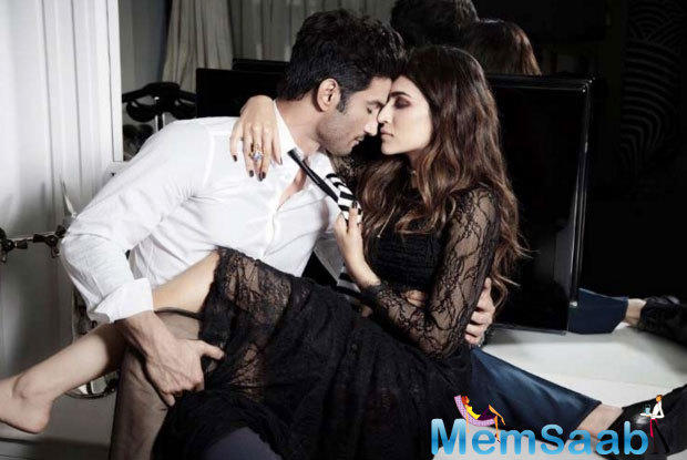 In another snap, the jodi struck an intimate pose, where Kriti donned a lace black attire.