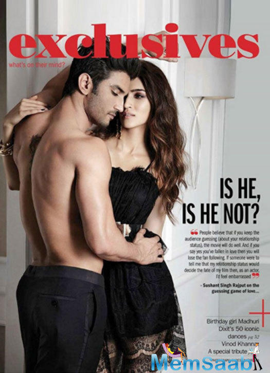 """The jodi features in the story titled, """"Sushant-Kriti Showbiz's Latest Lovebirds."""" Here's a peek into their sexy and hot photo shoot:"""