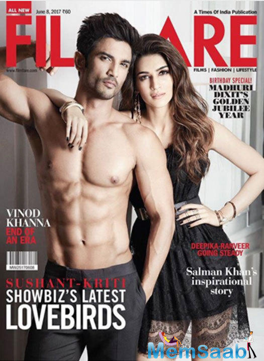 The third click featured the two leaning against the wall. Sushant's shirtless pose and Kriti Sanon's sexy stare was surely a feast for the eyes of their fans!