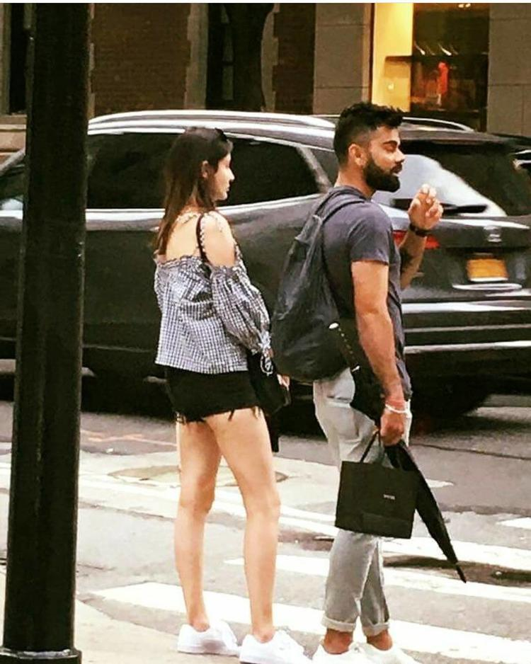 Dressed in an off-shoulder chequered tee and black hot pants, Anushka looked her casual best, while Virat appeared his best in a tee and loose pant.