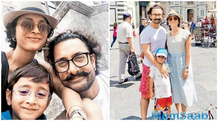 The actor was snapped having a quality time with his family in Italy. Other than baby Aazad, what grabs our eyeballs is his 'pierced' Thugs of Hindostan look.