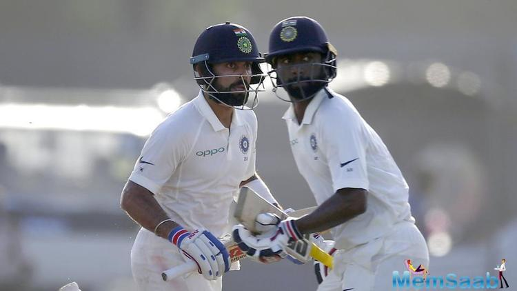 In the Indian innings, centurions of the previous innings Shikhar Dhawan and Cheteshwar Pujara departed early as they were dismissed for 14 and 15 respectively.