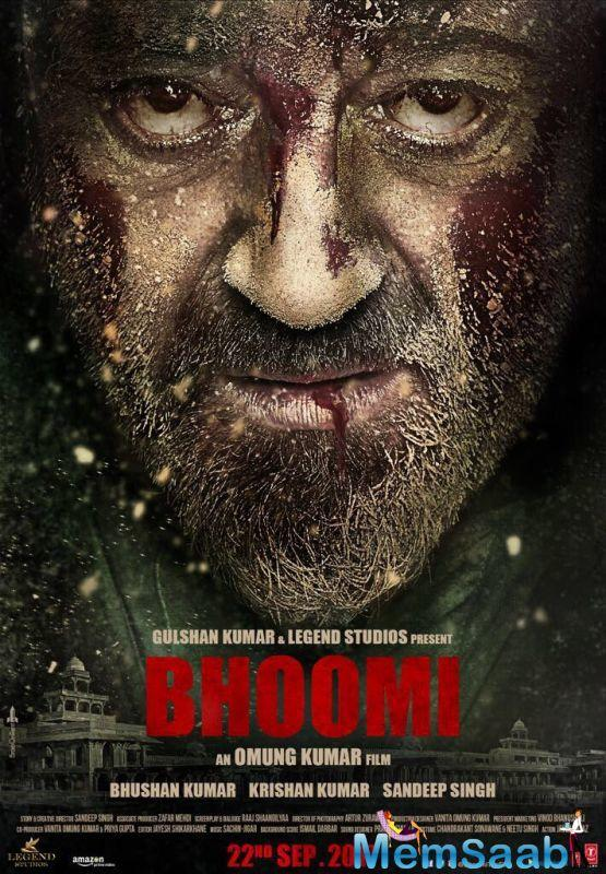 "Producer Bhushan Kumar adds, ""This poster is just a slice of the magic of Sanjay Dutt and the intensity of his role in Bhoomi."