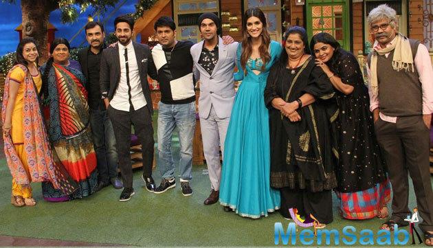 Kriti's onscreen parents Pankaj Tripathi and Seema Pahwa also attend the event