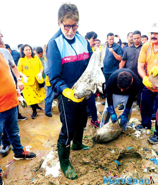 Yesterday, Amitabh Bachchan was spotted at Versova beach cleaning up the lot, along with volunteers.