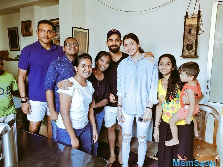 The duo was seen together with Team India head coach Ravi Shastri in a photo with Sri Lankan fans who visited their hotel.