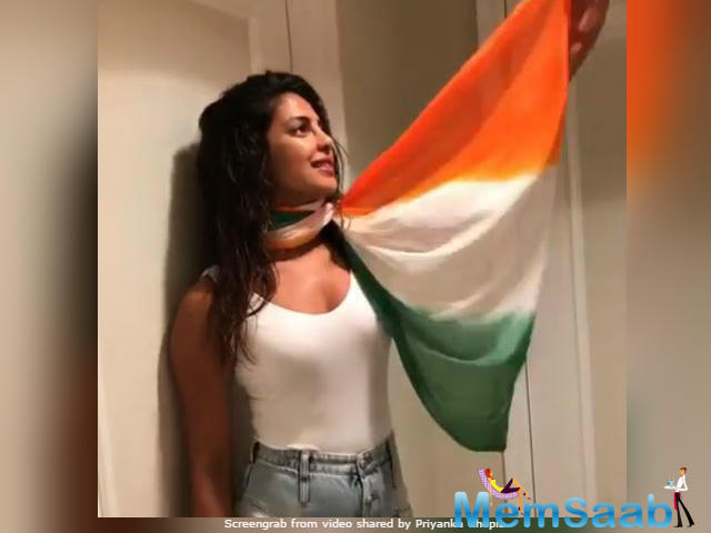 Priyanka, who was in the US on August 15, wore a tricolour dupatta with her T-shirt in the video - this has been received with disfavour by a section of her Instagram followers.