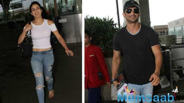 The film's lead pair, Sushant Singh Rajput, and Sara were spotted at the airport on Sunday, heading to Dehradun to kick-start the first schedule of their upcoming film.