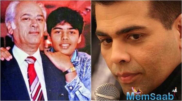 In the picture, we can pick up a teenaged Karan posing with his guiding light for life.