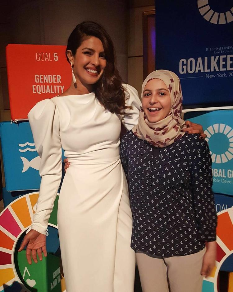 Priyanka, who has often spoken on girl child rights and gender issues, on Wednesday shared on social media a photograph of herself from the event.