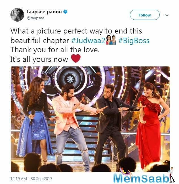 They were thrilled to shoot with Salman, who readily grooved to the film's songs with them. Taapsee shared on social media: