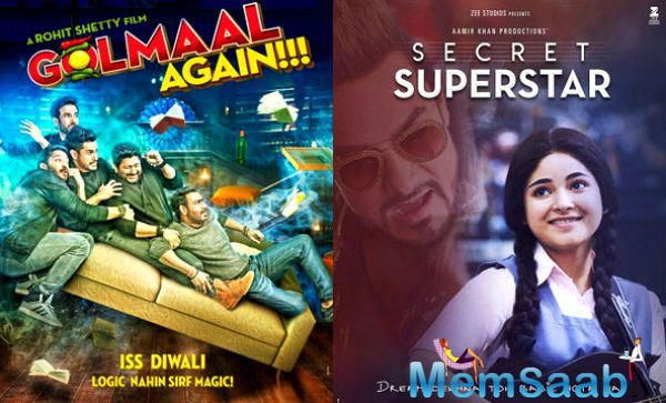 After Rajinikant and Akhay Kumar shifted 2.0's release to next year, everyone were eager to know the outcome of the MEGA Diwali clash between Aamir Khan's Secret Superstar and Ajay Devgn's Golmaal Again.