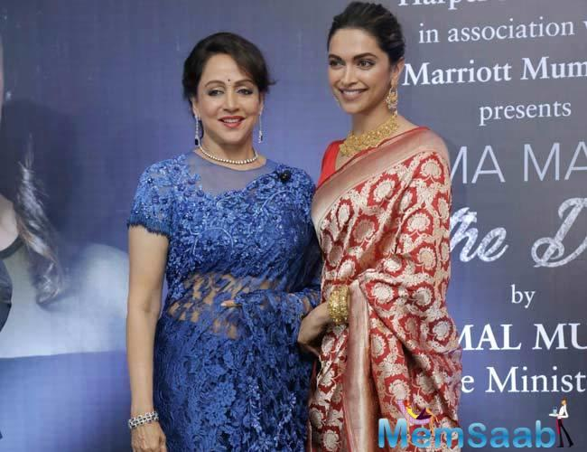 Deepika recently launched the biography of Hema Malini at Mumbai's suburban hotel on the latter's 69th birthday.