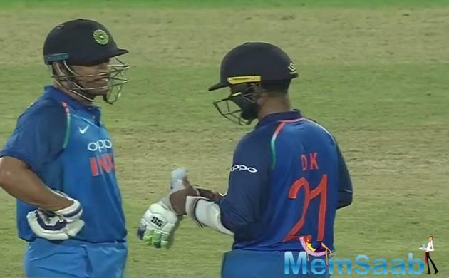 Soon after, Hardik Pandya and Dinesh Karthik, who scored 64,  put up a 59-run partnership after which the former departed for 30.