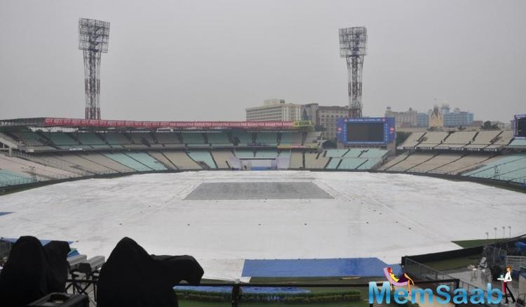 The first Test match between India and Sri Lanka at Eden Gardens in Kolkata has been delayed due to rain.