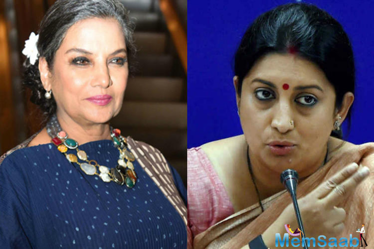 Recently, Azmi slammed Union Information and Broadcasting Minister Smriti Irani for her silence on the raging controversy surrounding 'Padmavati' and the threats issued to Deepika and Bhansali.