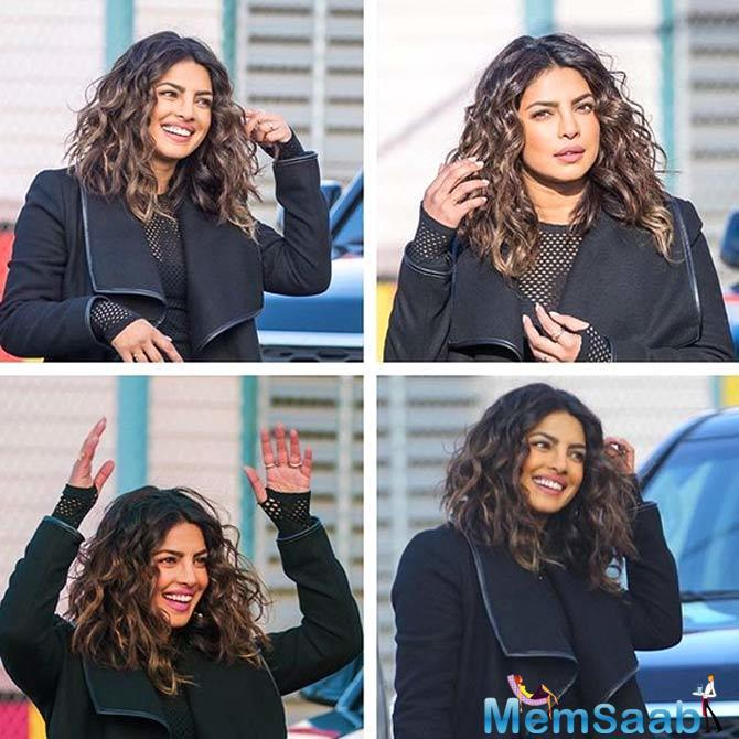In the picture, Bollywood actress is seen in short-cut hair with perfect curls.