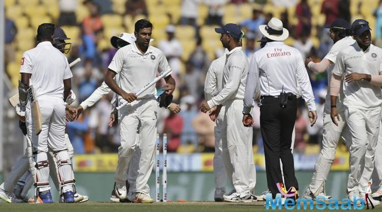 The only take away from the Lankans' innings was a knock of 61 by Dinesh Chandimal as Ravichandran Ashwin got a wicket, inching to 300 Test wickets.