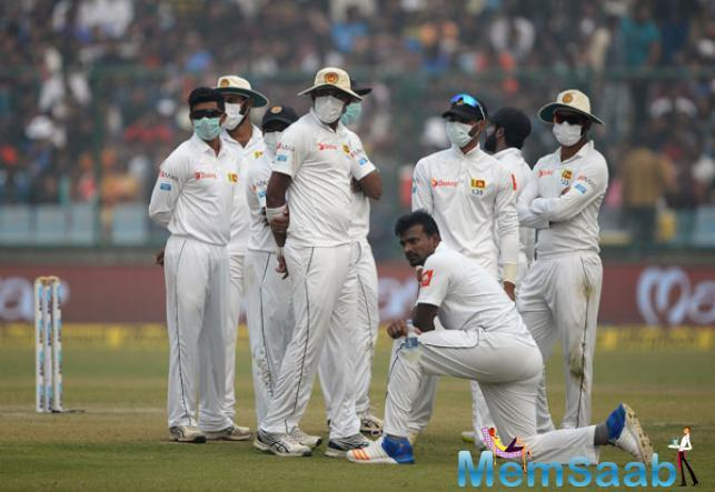 Earlier in the day, Sri lankan cricketers threw up in dressing room after fielding in smoggy Delhi