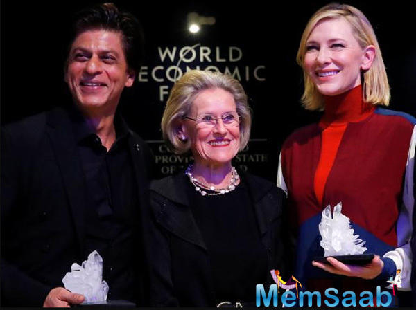 Superstar Shah Rukh Khan on Monday received an award at the World Economic Forum in Davos for raising awareness about human rights issues and his work for acid attack victims.