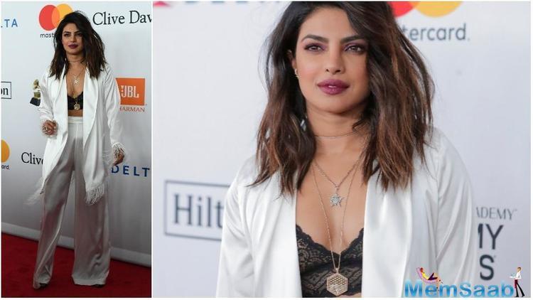 Priyanka Chopra surely turned heads at the Clive Davis Pre-Grammy Gala on Saturday night in New York.