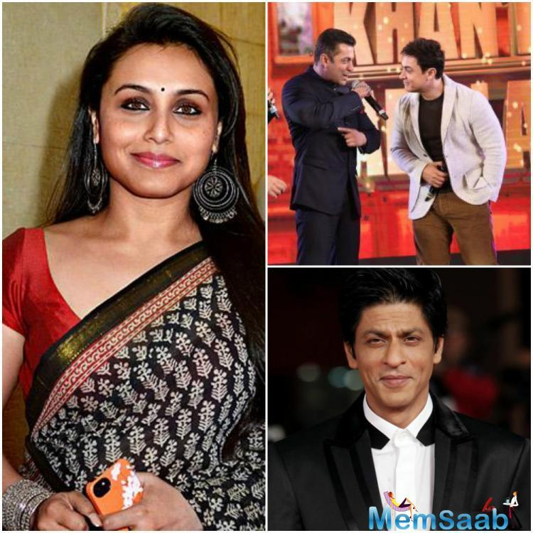 """When host Saurav asked her to reveal who comes on set on time, Rani laughed, and after a deep thought shared, """"Aamir is very punctual. Then comes Shah Rukh and last Salman."""