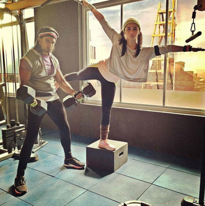 Ranveer shared the picture and termed Alia Bhatt as his gym partner.