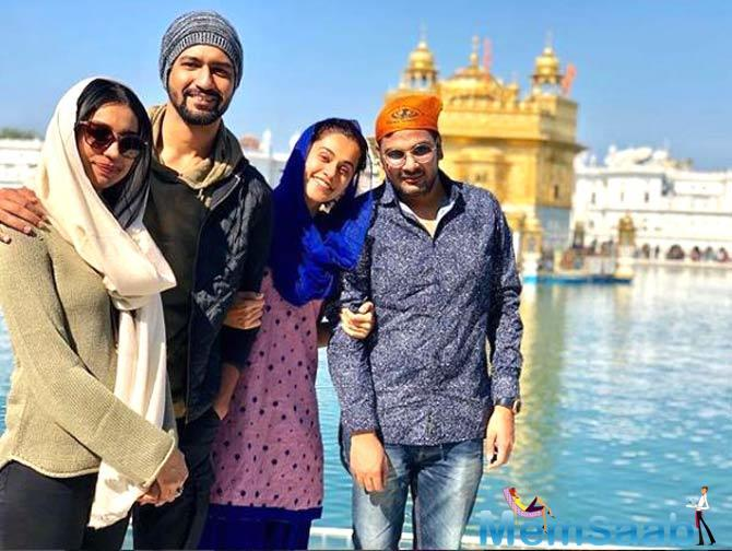 Vicky Kaushal, casting director Mukesh Chhabra and writer Kanika Dhillon also accompanied Taapsee during her visit to the temple.