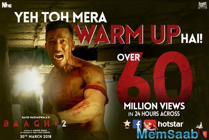 Sajid Nadiadwala and Fox Star Studios much awaited trailer of Baaghi2 is out now and it has enthralled the viewers across all the platforms.
