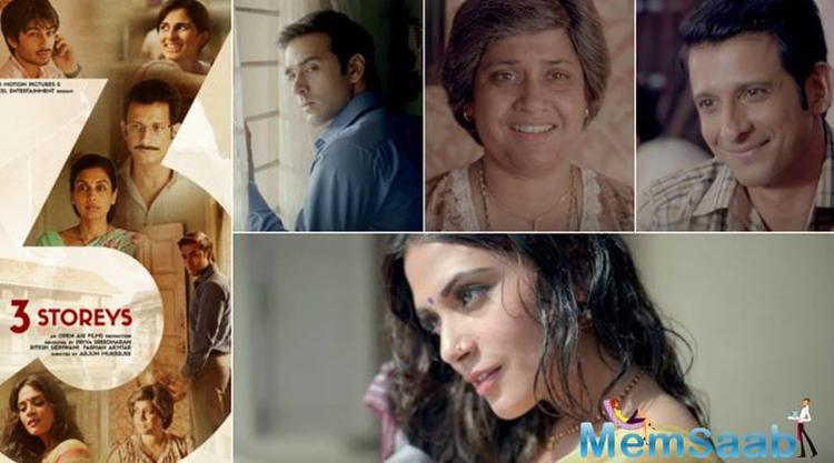 And now, '3 Storeys', directed by debutant Arjun Mukerjee and starring Richa Chadha, Sharman Joshi, Pulkit Samrat, Renuka Shahane, Aisha Ahmed and Ankit Rathi.