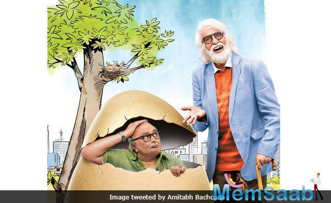The new poster of Big B and Rishi Kapoor-starrer comedy-drama film '102 Not Out' out now.
