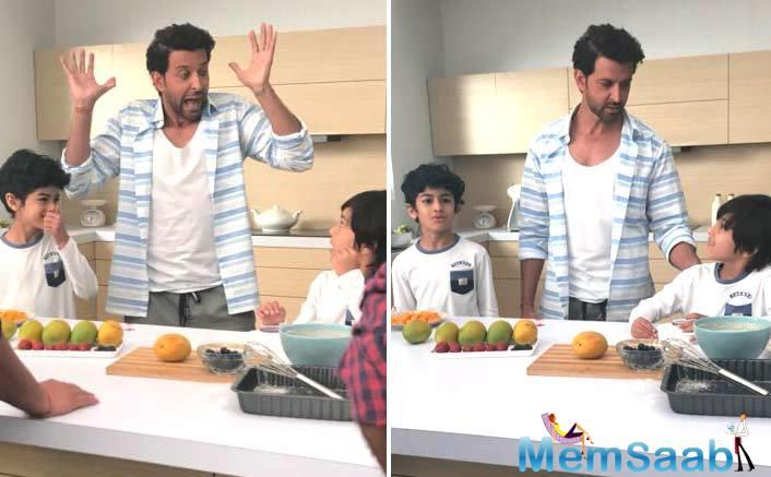Hrithik Roshan who was shooting for a commercial ad in the city indulged in a pampering session with his young co-stars.