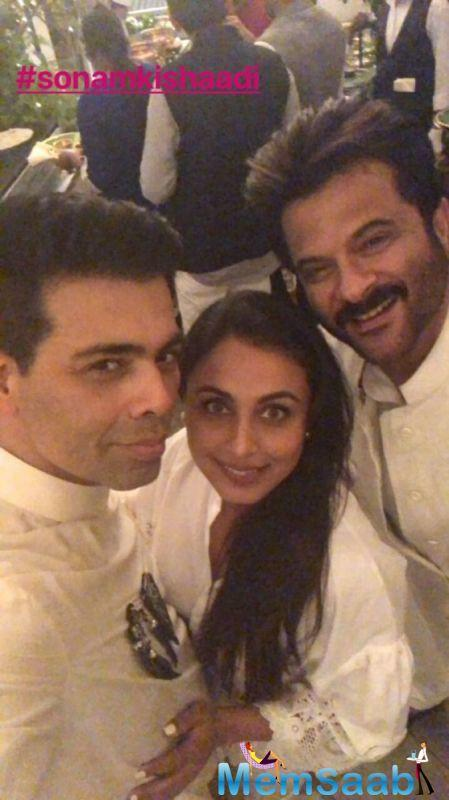Meanwhile, father Anil Kapoor could be seen in full glory while he was posing with Karan Johar and Rani Mukerji for a photo.