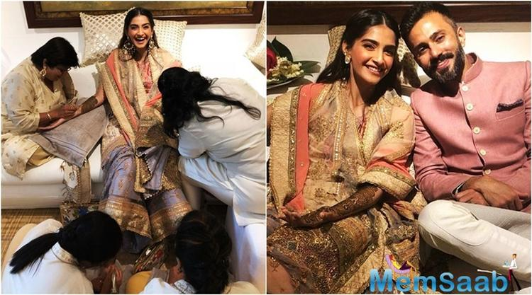 Wedding has begun! Sonam Kapoor is getting her Mehendi done at her house with her beau Anand Ahuja.