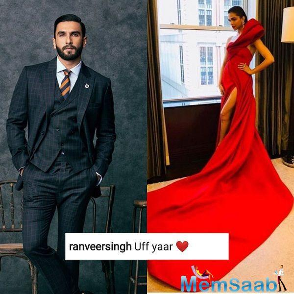 As Deepika shared a photo in the red dress before walking the Met Gala 2018 red carpet, Deepika's alleged boyfriend Ranveer commented on her post.
