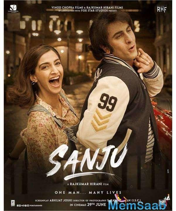 Through the latest poster of Sanju, Rajkumar Hirani gives an insight into the crazy love life of Sanjay Dutt in the 80s with Sonam Kapoor.