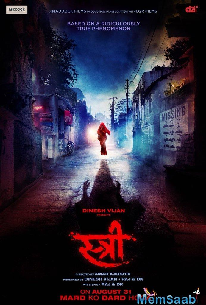 Bollywood stars Rajkumar Rao and Shraddha Kapoor unveiled the first look of their upcoming horror film 'Stree'.