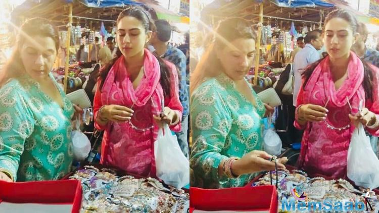 Saif Ali Khan's daughter Sara Ali Khan and ex-wife Amrita Singh spotted at Hyderabad's LadBazaar shopping during Eid.