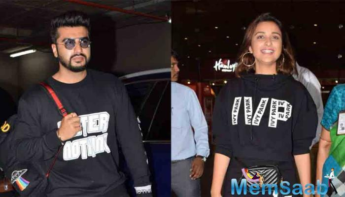 "Arjun, Parineeti and director Vipul Amrutlal Shah interacted with the media here at the wrap-up party of ""Namaste England"" on Wednesday."